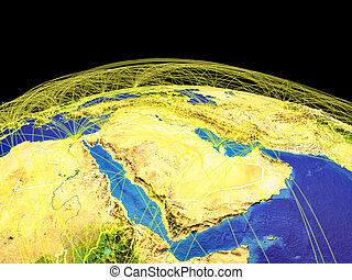 Western Asia on planet Earth with country borders and trajectories representing international communication, travel, connections. 3D illustration. Elements of this image furnished by NASA.