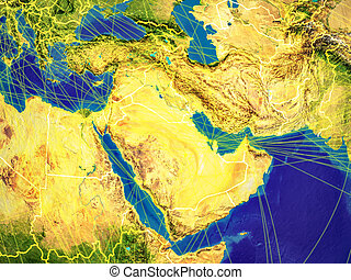 Western Asia from space on Earth with country borders and lines representing international communication, travel, connections. 3D illustration. Elements of this image furnished by NASA.