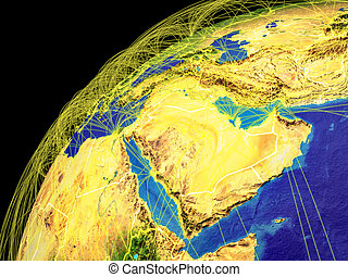 Western Asia from space on Earth with lines representing international connections, communication, travel. 3D illustration. Elements of this image furnished by NASA.