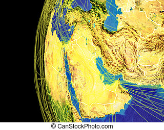 Western Asia from space on planet Earth with lines representing global communication, travel, connections. 3D illustration. Elements of this image furnished by NASA.