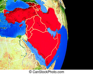 Western Asia on realistic model of planet Earth with country borders and very detailed planet surface. 3D illustration. Elements of this image furnished by NASA.