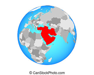 Western Asia on blue political globe. 3D illustration isolated on white background.