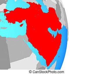 Western Asia on globe