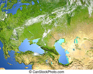 Western Asia. 3D illustration with detailed planet surface. Elements of this image furnished by NASA.