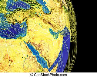 Western Asia on Earth with trajectories representing international communication, travel, connections. 3D illustration. Elements of this image furnished by NASA.