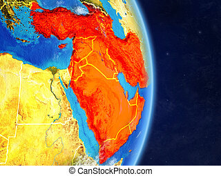 Western Asia on planet planet Earth with country borders. Extremely detailed planet surface and clouds. 3D illustration. Elements of this image furnished by NASA.