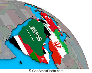 Western Asia with flags on 3D globe