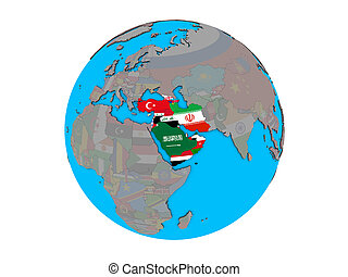 Western Asia with flags on globe isolated