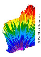 Western Australia (Australian states and territories, WA) map is designed rainbow abstract colorful pattern, Western Australia map made of color explosion,