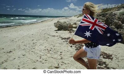 Western Australia Running flag - close up of woman running...