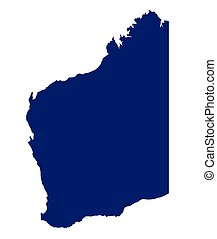 Western Australia State Silhouette - Silhouette map of the...