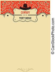 Western background with cowboy hat and board for text.