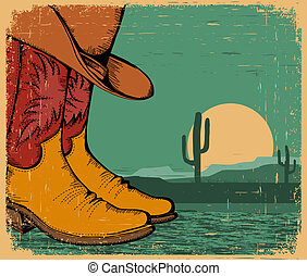 western background with cowboy shoes and desert landscape on...
