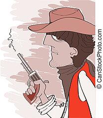 Western bandit in cowboy hat with gun. Vector portrait illustrati