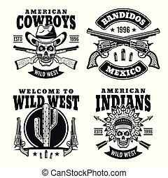 Western black vector emblems, badges, labels