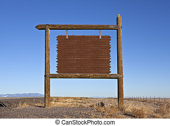 Western Blank Highway Message Billboard - Rustic Wooden...