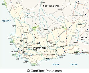 western cape road and national park map.