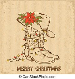 Western Christmas greeting card with cowboy traditional boots and cowboy hat