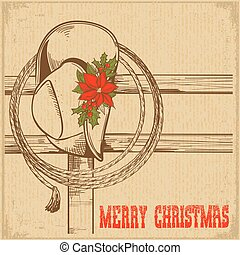Western Christmas greeting card with traditional cowboy hat