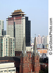 western church and modern skyscrape - Contrasty China: a...