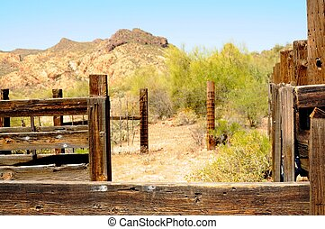 Old Arizona corral in the desert mountains