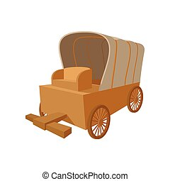 Western covered wagon cartoon icon