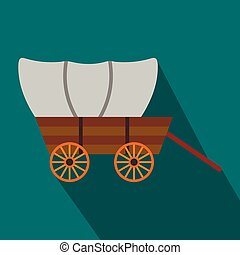 Western covered wagon flat icon on a blue background