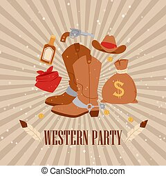 Western cowboy american party, vector illustration. Vintage rodeo banner design with boots, west grunge style template banner.