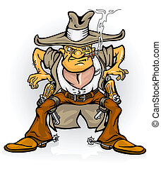 western cowboy bandit with gun vector illustration isolated on white background