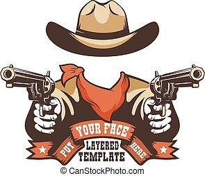 Western cowboy face template. Wild west Gunfighter for any ...
