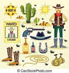 western cowboy flat icons set