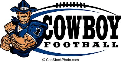 western cowboy football team design with rugged mascot for school, college or league