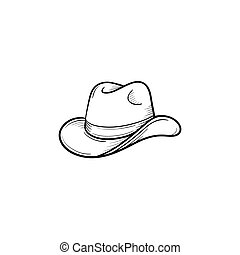Western cowboy hat hand drawn sketch icon.