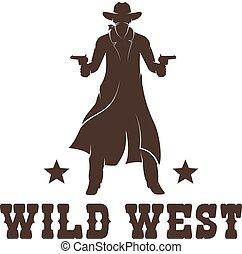 Western Cowboy in a long coat with guns stencil. Wild west ...