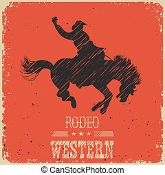 Western Cowboy riding wild horse. Western poster on red paper