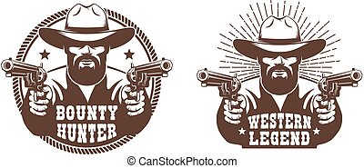 Western cowboy with beard and two guns - retro emblem