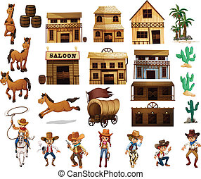 Western cowboys - Illustration of cowboys and buildings