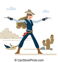 Western cowgirl with two revolvers in a shootout. Cartoon vector illustration. Flat style. Isolated on white background