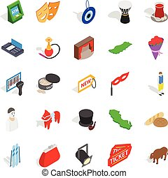 Western culture icons set, isometric style