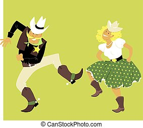Cute couple in western outfits dancing, EPS 8 vector illustration