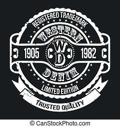 Western Denim T-shirt Typography