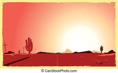 Illustration of a vintage desert landscape in the sunset