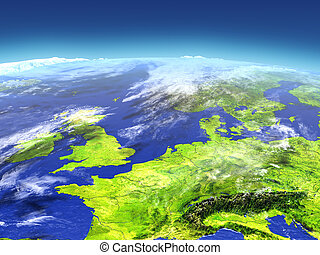 Western Europe from space. 3D illustration with detailed ...