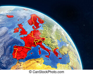 Western Europe from space on realistic model of planet Earth...