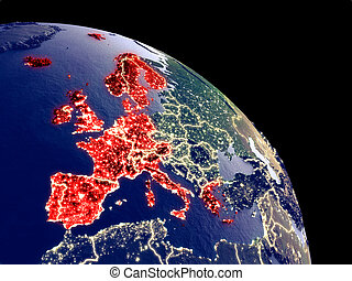 Western Europe from space - Western Europe at night from ...