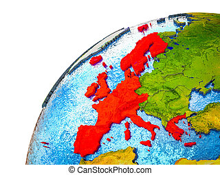 Western Europe on 3D Earth model with visible country ...