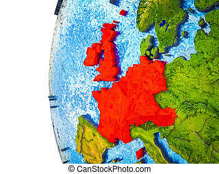 Western Europe on 3D Earth - Western Europe highlighted on ...