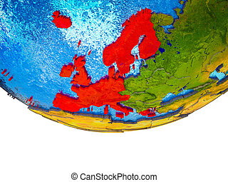 Western Europe on 3D Earth with divided countries and watery...
