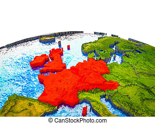 Western Europe on 3D Earth with visible countries and blue ...