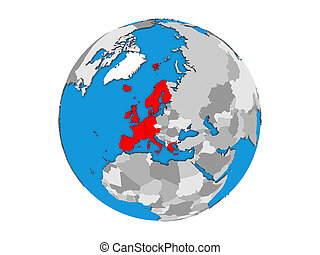 Western Europe on 3D globe isolated - Western Europe on blue...